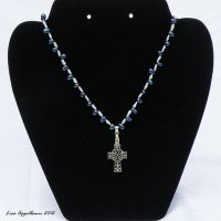 Freshwater Pearl and Celtic Cross Necklace by Cillana