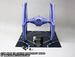 LEGO stormtrooper guarding papercraft TIE-fighter by ninjatoespapercraft