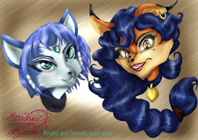 Krystal and Carmelita Head Shots by Moon-Shyne