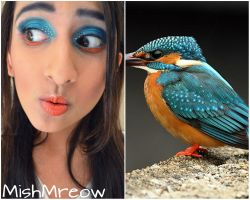 Kingfisher bird inspired makeup by MishMreow