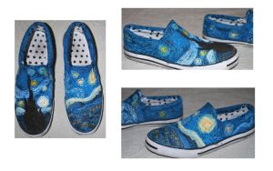 Starry Night shoes by FuzzyHobbit