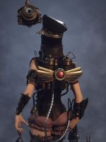 ashen steampunk law enforcer by Guang shi by Gwangshi172