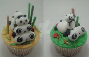 Panda Cupcakes by charlzlew