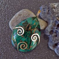 New Growth Gold and Malachite Pendant by magpie-poet