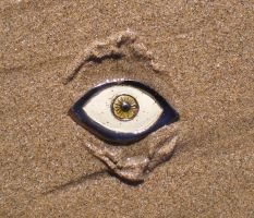 Large Clay Eye in the Sand by aberrantceramics