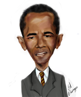 Barrack Obama caricature by Hleix