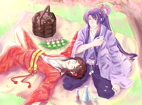 Gakupo and VY2 - Spring by JasmineTeen
