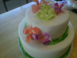 Orchid Wedding Cake by Cupcake-Killer