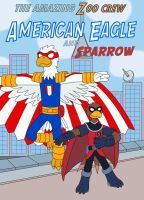 American Eagle and his sidekick Sparrow by MCsaurus