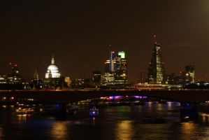 London skyline at night by PhilsPictures