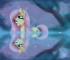 MLP FIM - Fluttershy Night Bath In The Rain by Joakaha