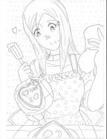 orihime valentine line art by Animepandafreak