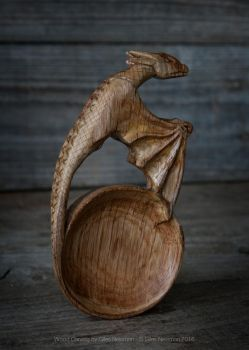 Hand Carved Oak Dragon Spoon by Giles-Newman-Carving