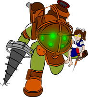 Big Daddy and little sister (lazy vector) by CardinalCompanion