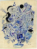 Dad's Pen and Ink Abstract by Mistgod