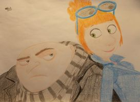 Gru and Lucy (Despicable Me 2) by BlackStarLGArt