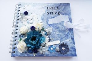Mixed media blue wedding album by designsbyjo