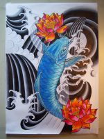 Blue Koi with Lotus by Elbaco