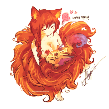 Gnar and Ahri by Endber