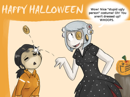 GLaDOS and Chell's Halloween by Super-Cute