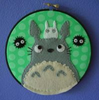 Two Totoros Embroidery Hoop by iggystarpup