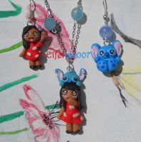 Lilo and Stitch necklace and earrings handmade by Elfetta2007