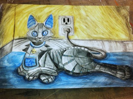 Watercolor Robot Cat by The-MadR