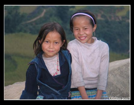 Little black Hmong girls by Olithys