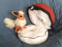 Flareon Climbing Into Her Pokeball 'Bed' by KittyCowLexa