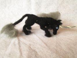 Sir Ollson the Needle Felt Tiny Unicorn Doll by shadechristiwolven