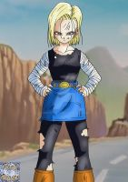Android 18 Battle Damaged by kingvegito
