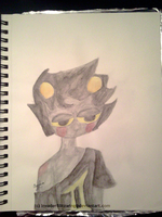 Watercolor practice - Karkat you look dopey by InvaderBlitzwing