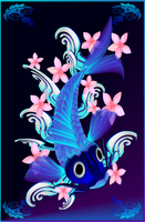 Blue Koi-Pink Flowers by lotacats05