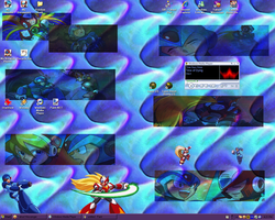 My Desktop with X and Zero BG by NightmareSaber