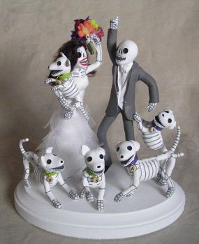 Day of the Dead wedding cake topper by claylindo