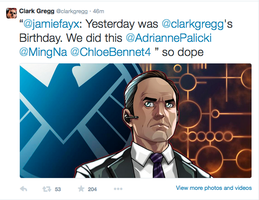 Phil Coulson Tweets My Art......AGAIN!!!! by JamieFayX