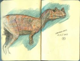 Ceratosaurus in Watercolor by maniraptora