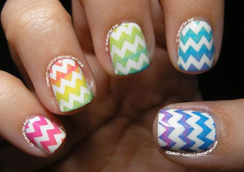 Rainbow Stamping Chevron Gradient... by Cowboy-Slightly