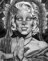 DOD Grey, Day Of the Dead Marilyn Monroe by jamesdangerharvey