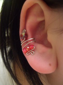 Red And Silver Ear Cuff by NoDoodleIsSafe