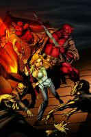 Buffy and Hellboy COLOR by tabu-art
