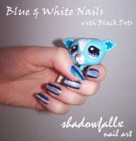 Blue and White Nails by shadowfallx