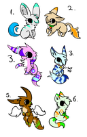 CLOSED FREE 6 creature adoptables by Snowree