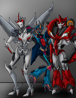 StarScream, SunBlaster, and KnockOut by xSharonthehedgehogx