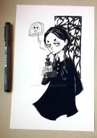 Wednesday Addams inktober print by Nachan