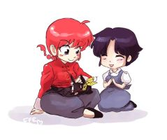 Ranma, P-chan and Akane by fluffy-fuzzy-ears
