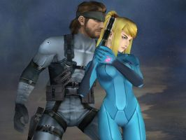Samus and Snake by LilLaura6789