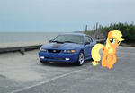 Applejack and her 1997 Ford Mustang by DarthVader447