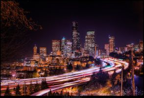 Seattle at night by Rattanack