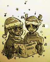 Eren and Armin CHRISTMAS~ [SKETCH] by LacriChan
